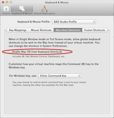 Editing the Mouse and Keyboard profile under VMWare Fusion